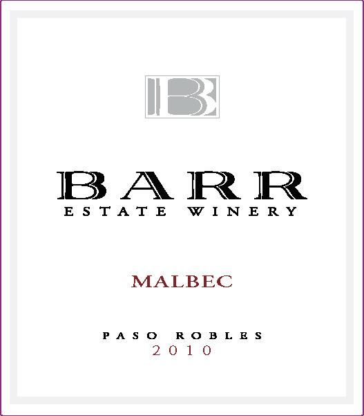Barr Estate Winery Malbec 2010  Front Label