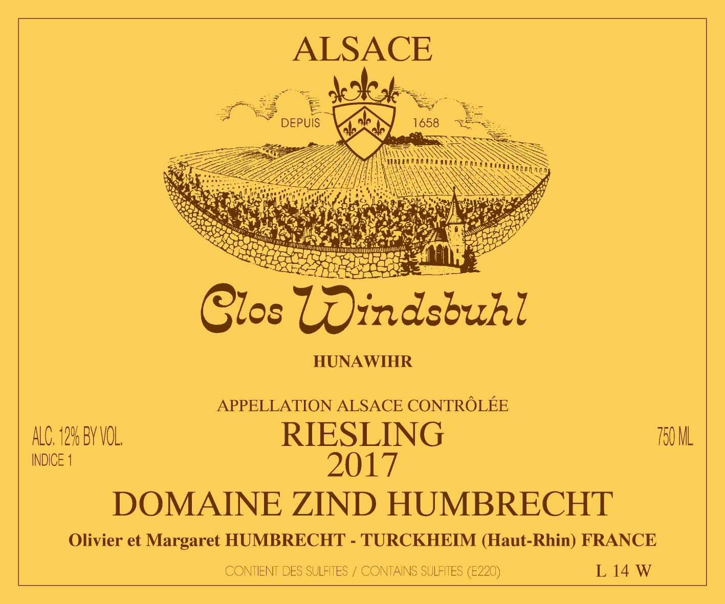 Zind-Humbrecht Clos Windsbuhl Riesling 2017  Front Label