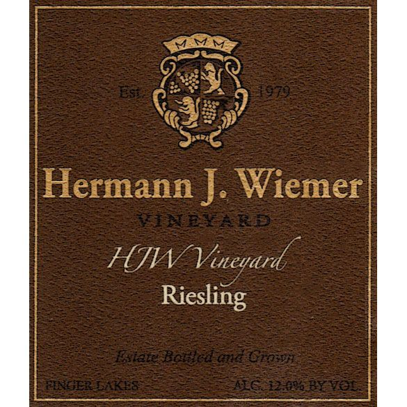 Hermann J. Wiemer HJW Vineyard Riesling 2016  Front Label