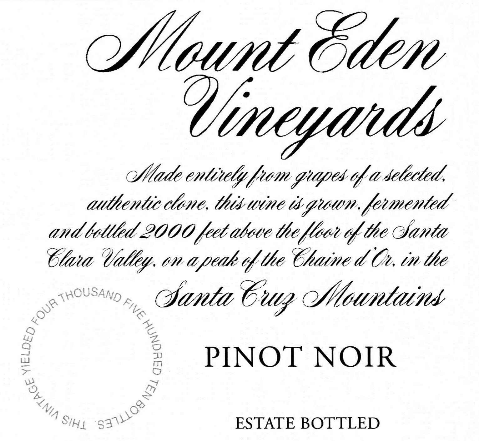 Mount Eden Vineyards Estate Pinot Noir 2016  Front Label