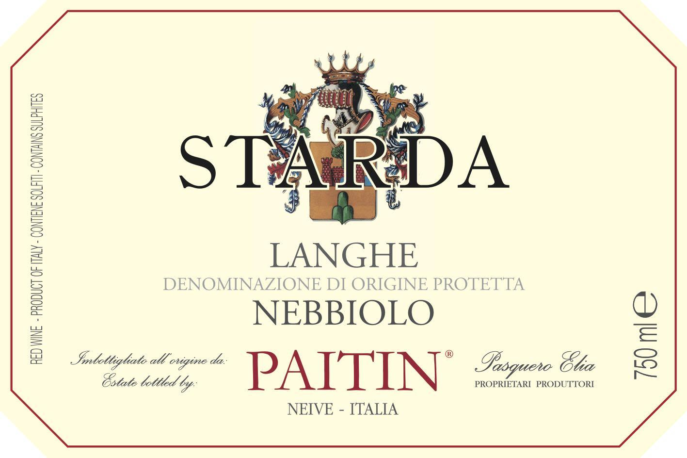 Paitin Starda Langhe Nebbiolo 2019 Front Label