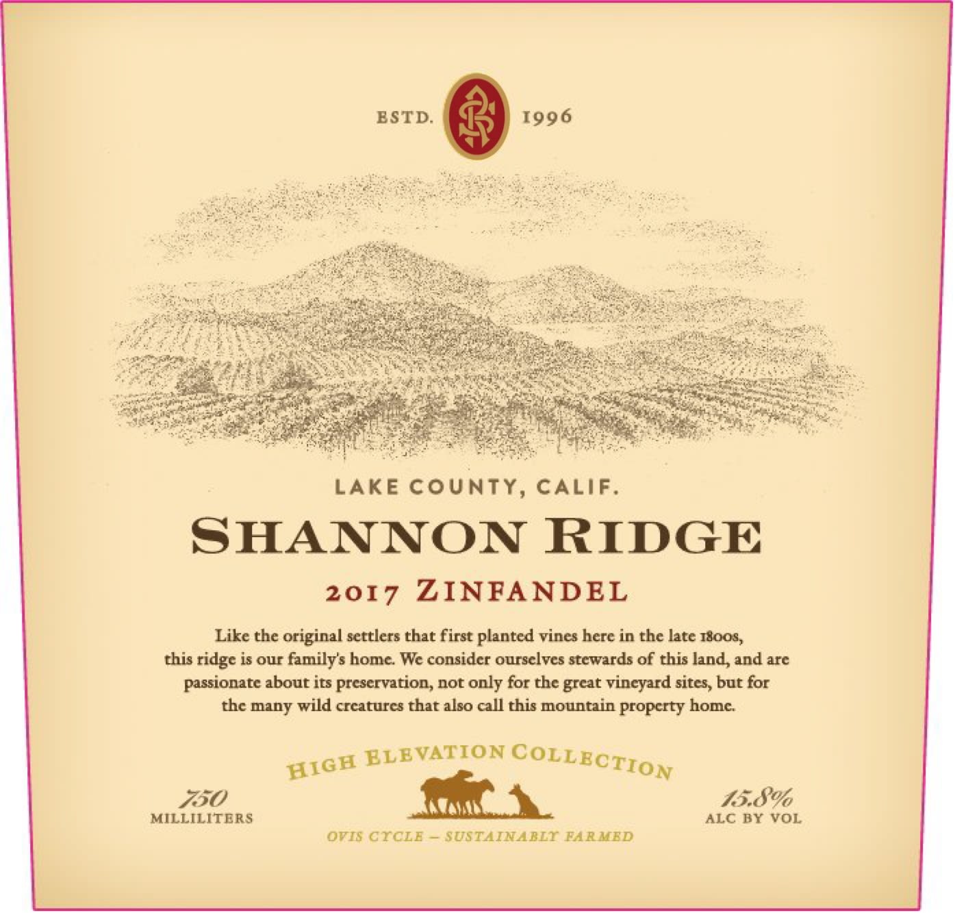 Shannon Ridge High Elevation Zinfandel 2017  Front Label