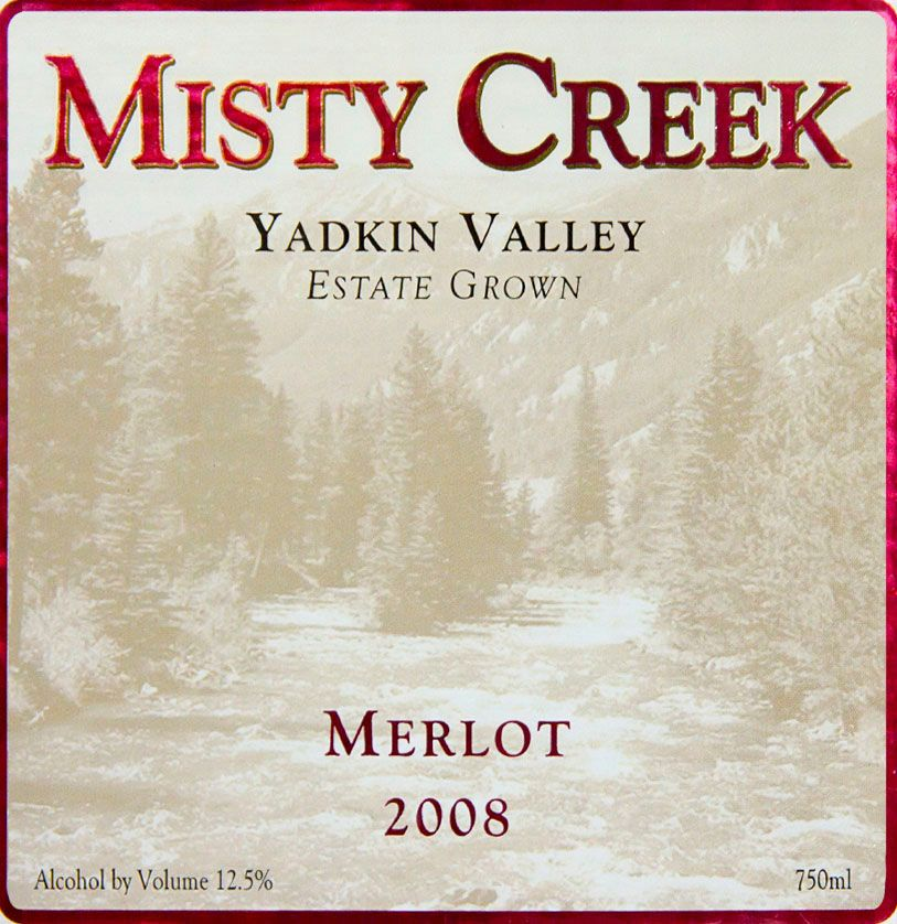 Misty Creek Wines Merlot 2008  Front Label