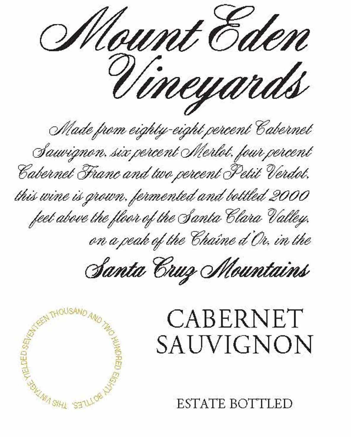 Mount Eden Vineyards Estate Cabernet Sauvignon (1.5 Liter Magnum) 2014  Front Label