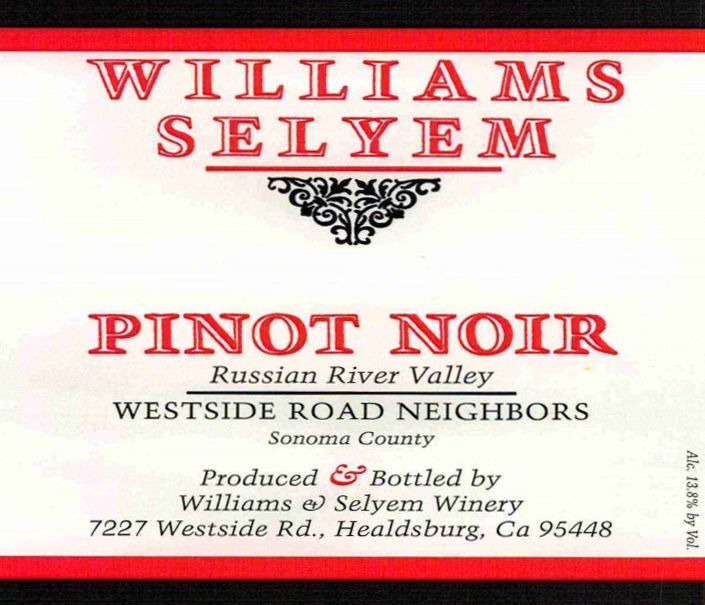 Williams Selyem Westside Road Neighbors Pinot Noir 2017 Front Label