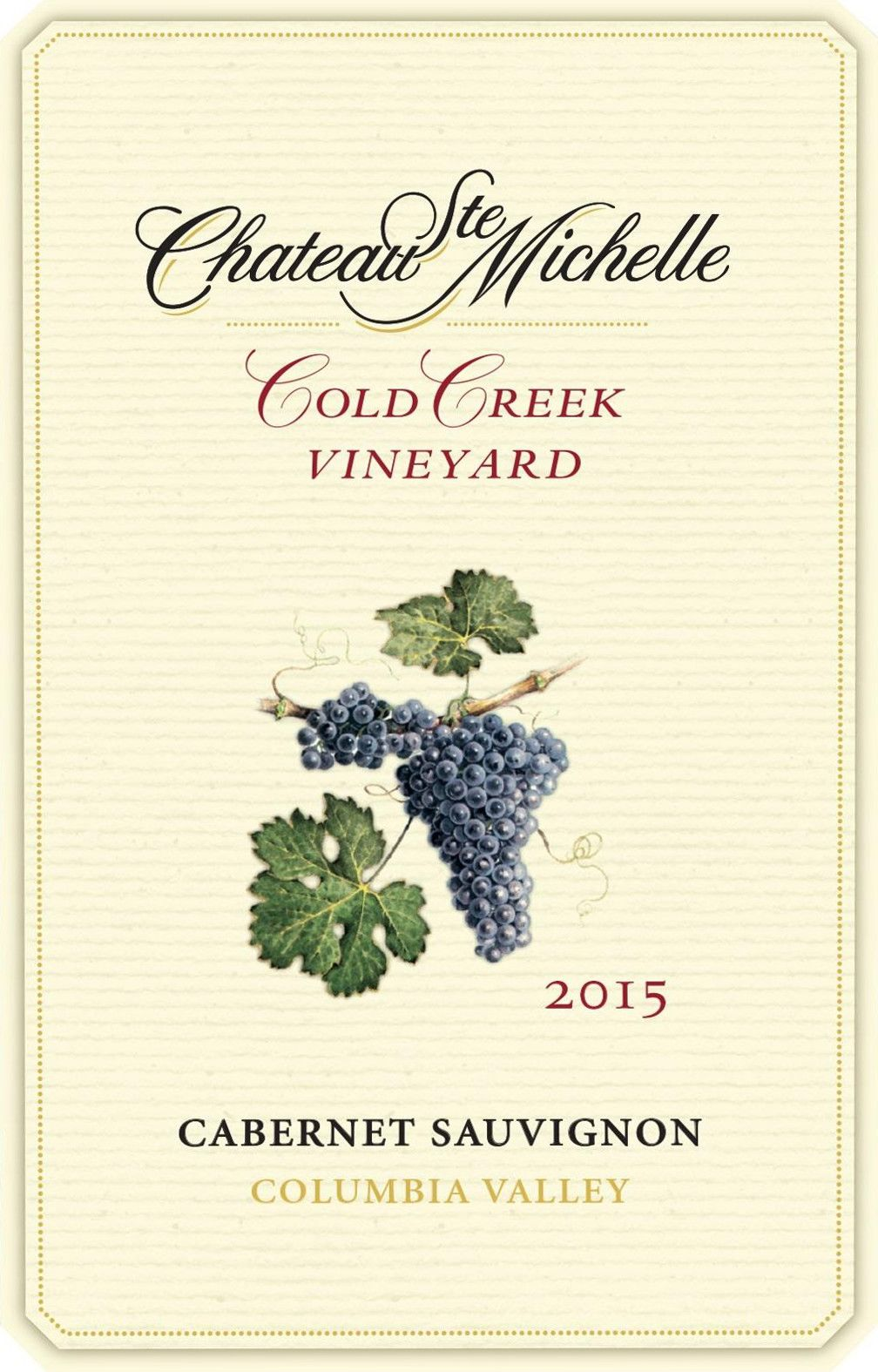Chateau Ste. Michelle Cold Creek Vineyard Cabernet Sauvignon 2015 Front Label