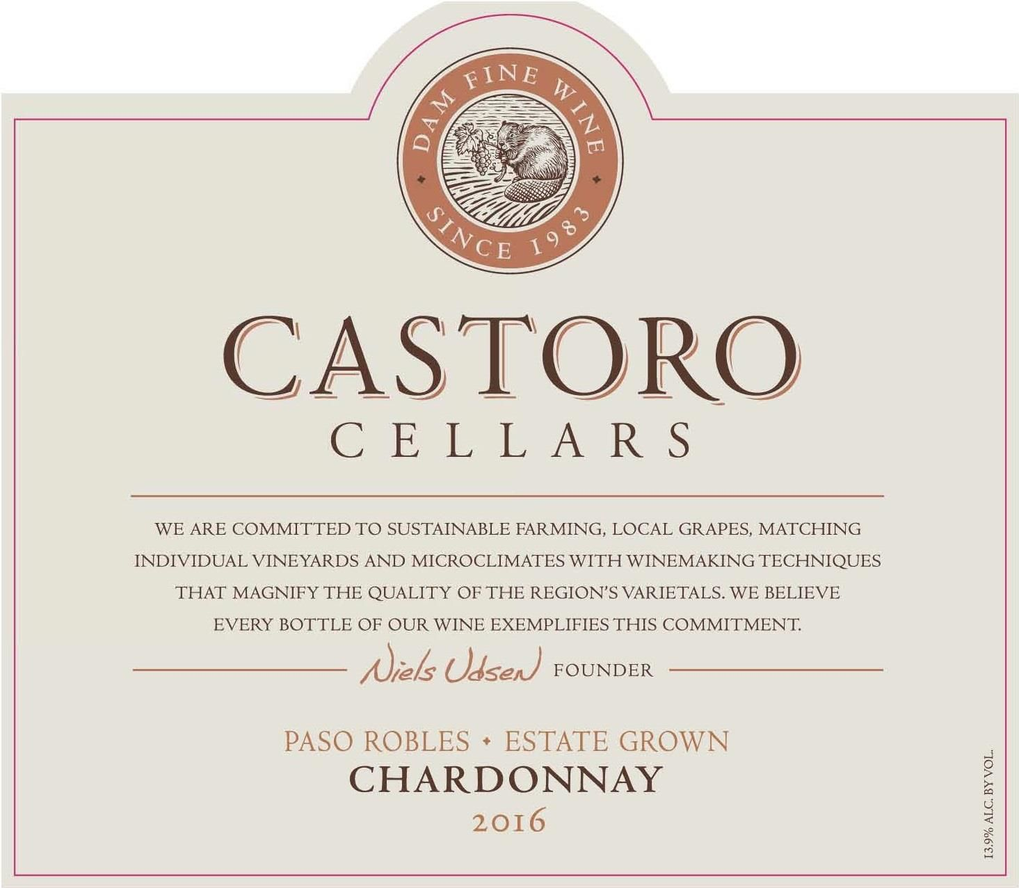 Castoro Cellars Chardonnay 2016  Front Label