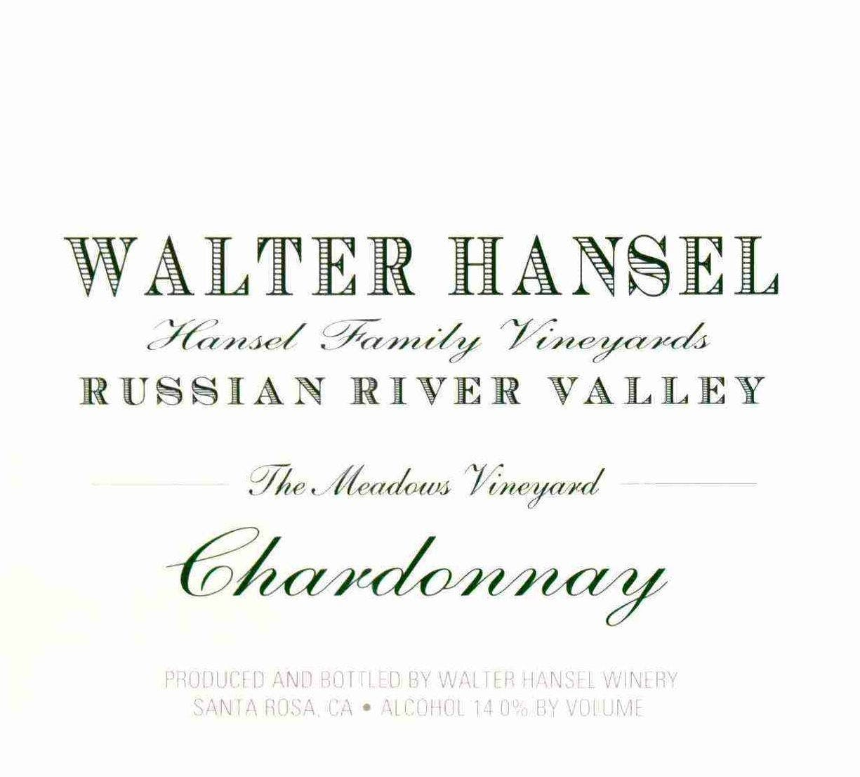 Walter Hansel The Meadows Vineyard Chardonnay 2018  Front Label