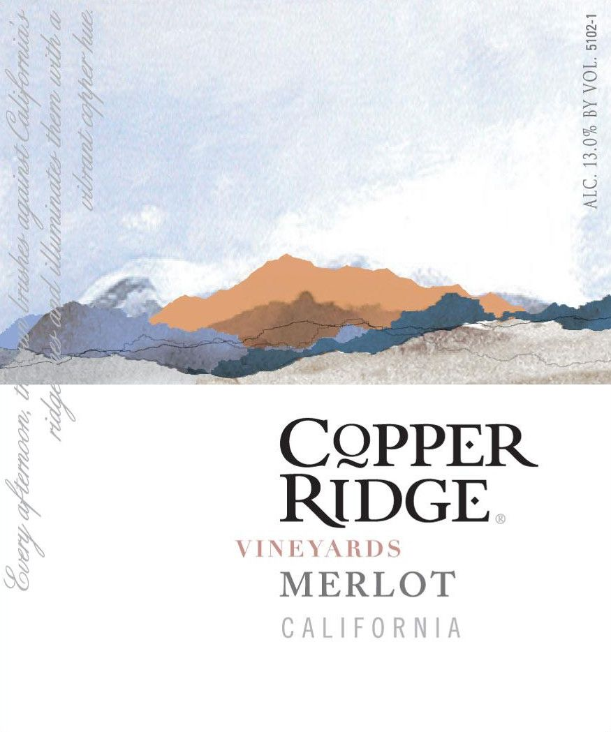 Copper Ridge Vineyards Merlot Front Label