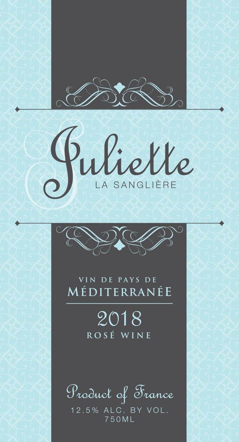 Juliette la Sangliere Rose 2018  Front Label