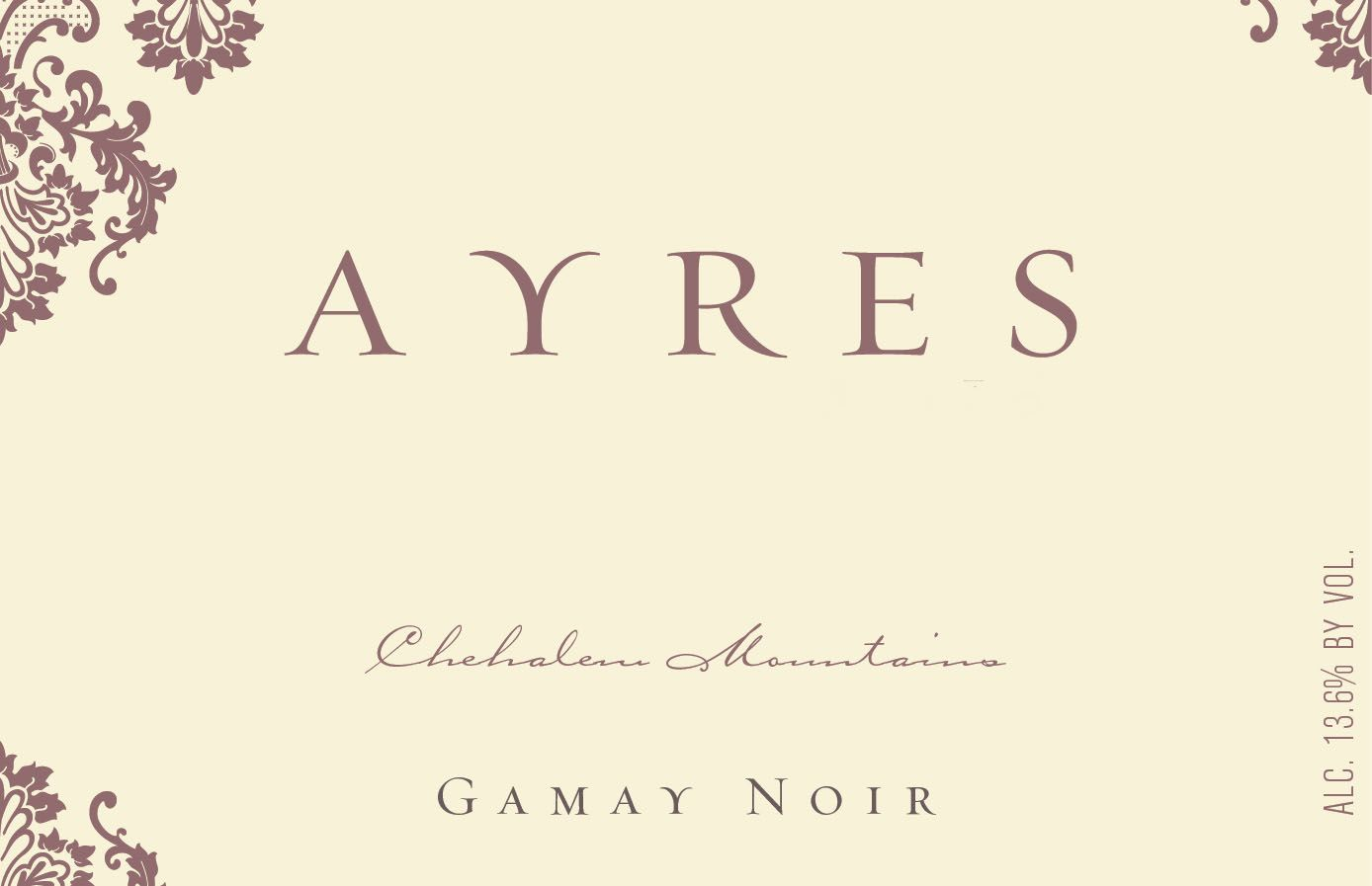 Ayres Gamay Noir 2018  Front Label