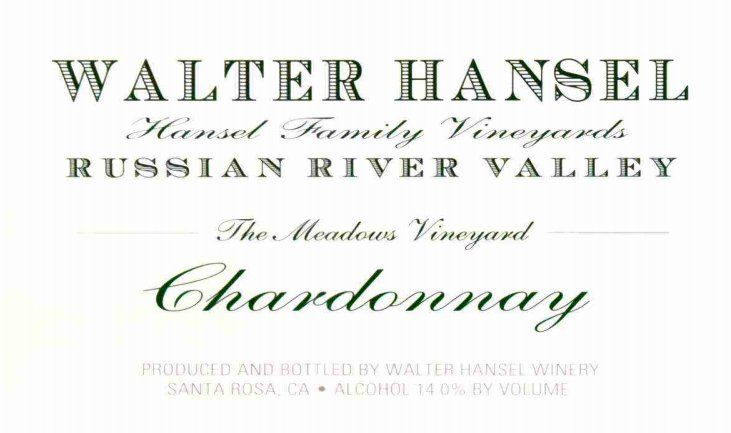 Walter Hansel The Meadows Vineyard Chardonnay 2016 Front Label