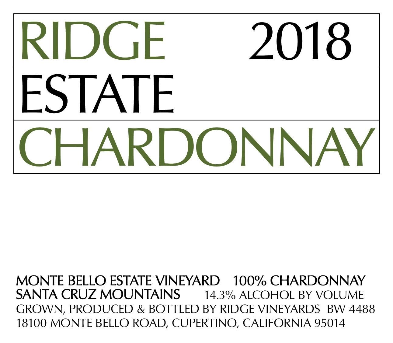 Ridge Estate Chardonnay 2018  Front Label