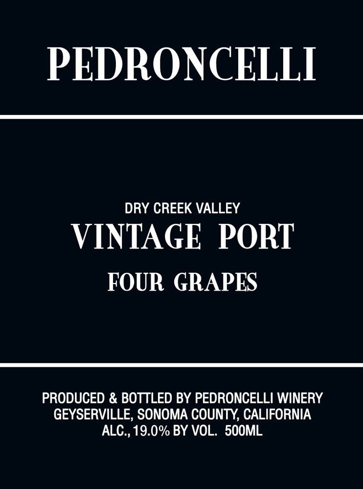 Pedroncelli Four Grapes Vintage Port (500ML) 2013 Front Label