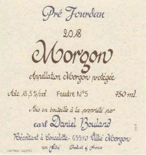 Daniel Bouland Morgon Pre Jourdan 2018  Front Label