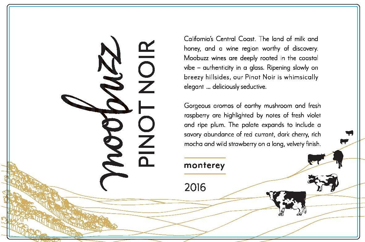 Moobuzz Monterey Pinot Noir 2016 Front Label