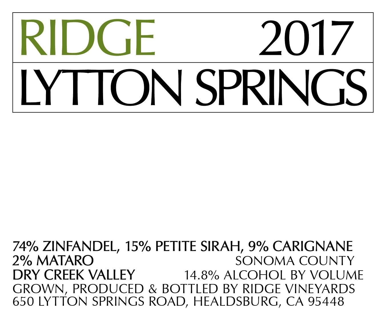 Ridge Lytton Springs (375ML half-bottle) 2017  Front Label