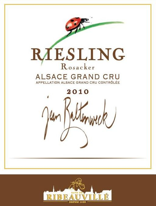 Cave de Ribeauville Jean Baltenweck Rosacker Grand Cru Riesling 2010  Front Label
