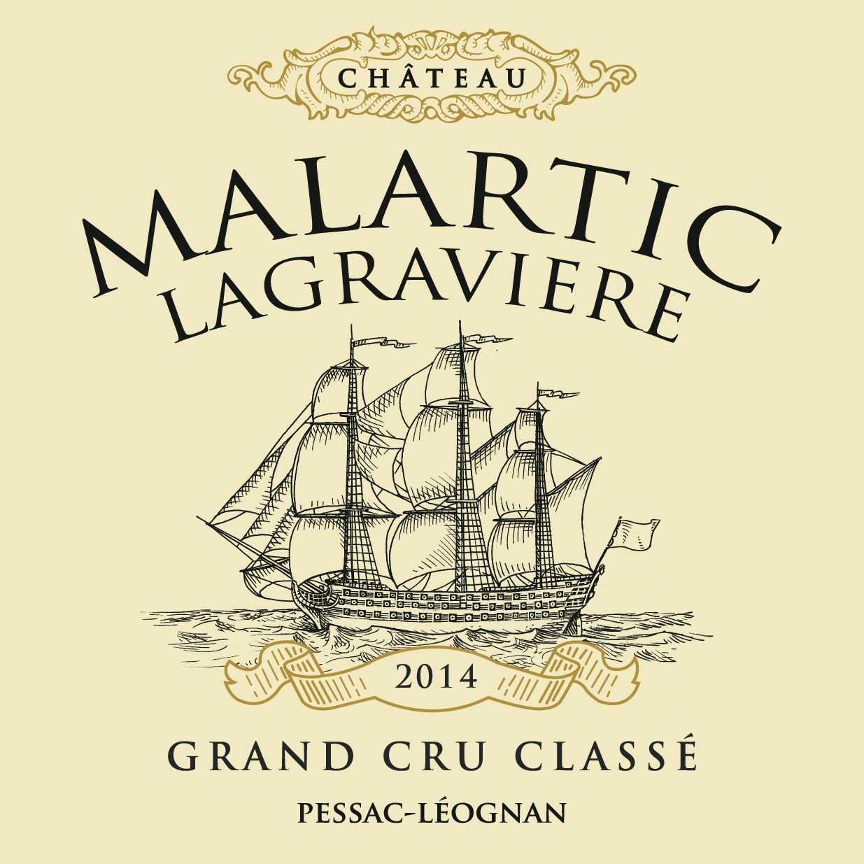 Chateau Malartic-Lagraviere  2014  Front Label