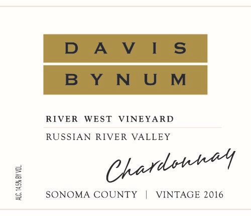 Davis Bynum River West Vineyard Chardonnay 2016  Front Label