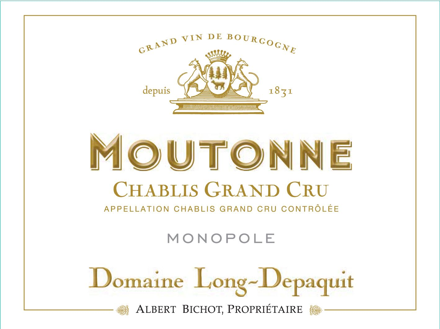 Albert Bichot Chablis Domaine Long-Depaquit Moutonne Grand Cru Monopole  2015  Front Label