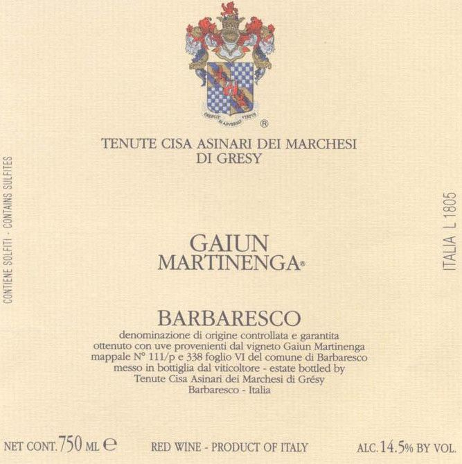 Marchesi di Gresy Barbaresco Gaiun Martinenga 2001  Front Label