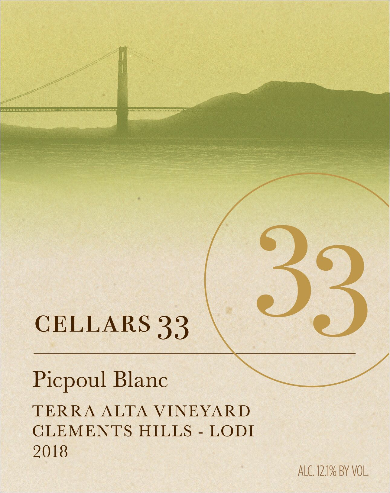 Cellars 33 Picpoul 2018  Front Label