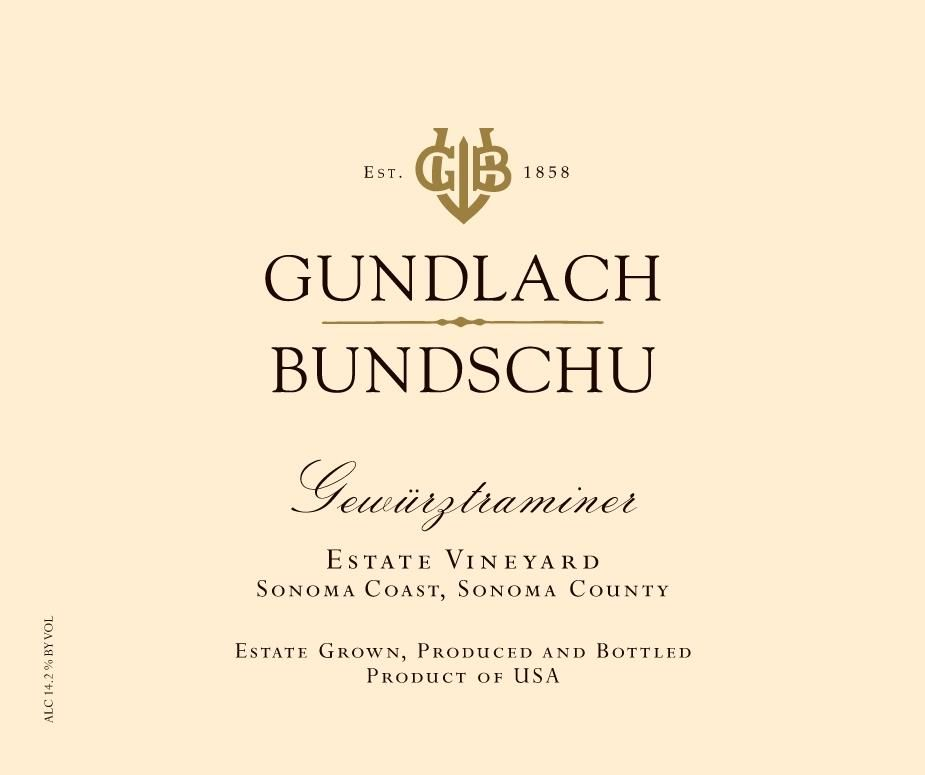 Gundlach Bundschu Estate Vineyard Gewurztraminer 2018 Front Label