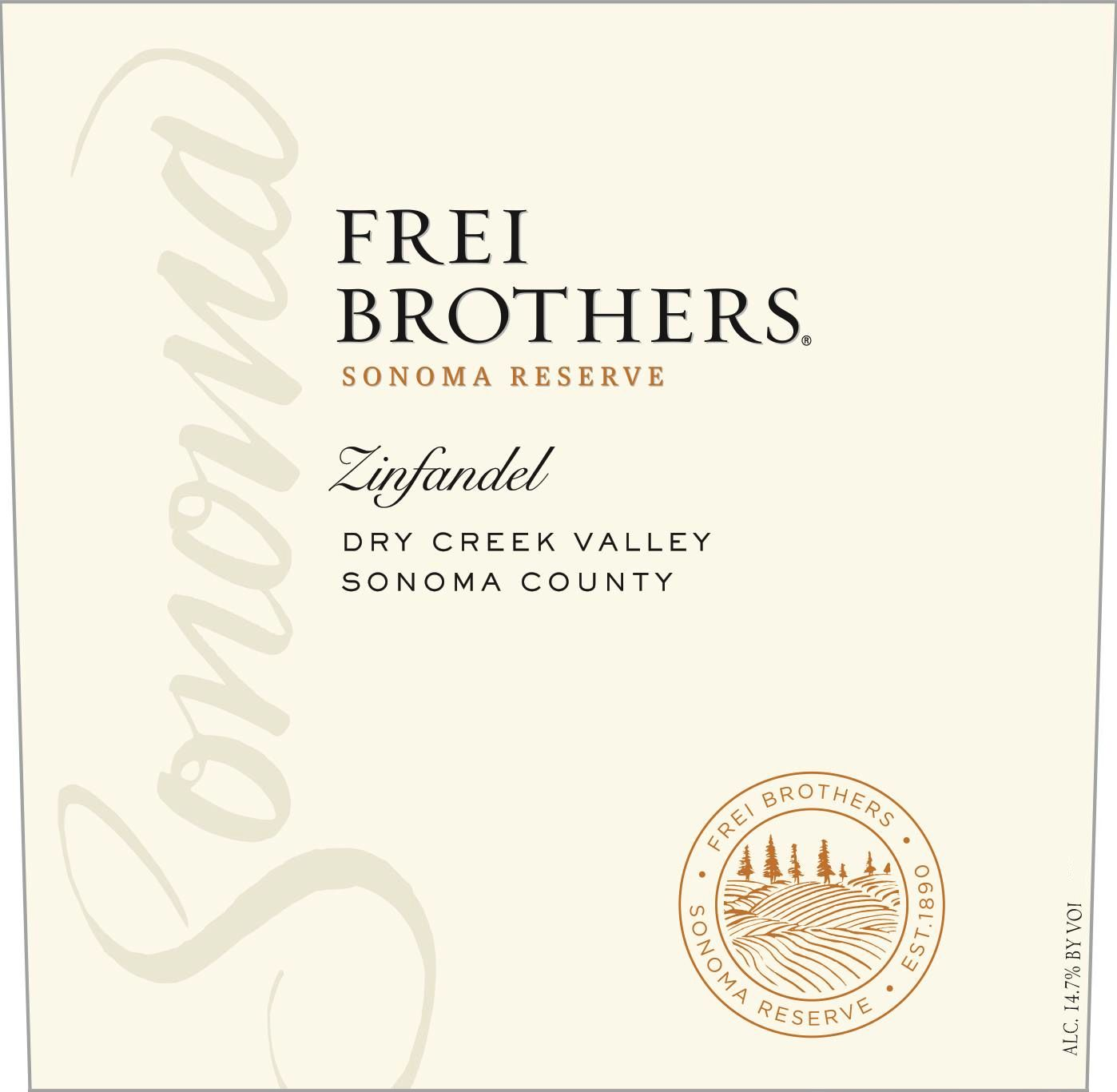 Frei Brothers Reserve Dry Creek Zinfandel 2016  Front Label