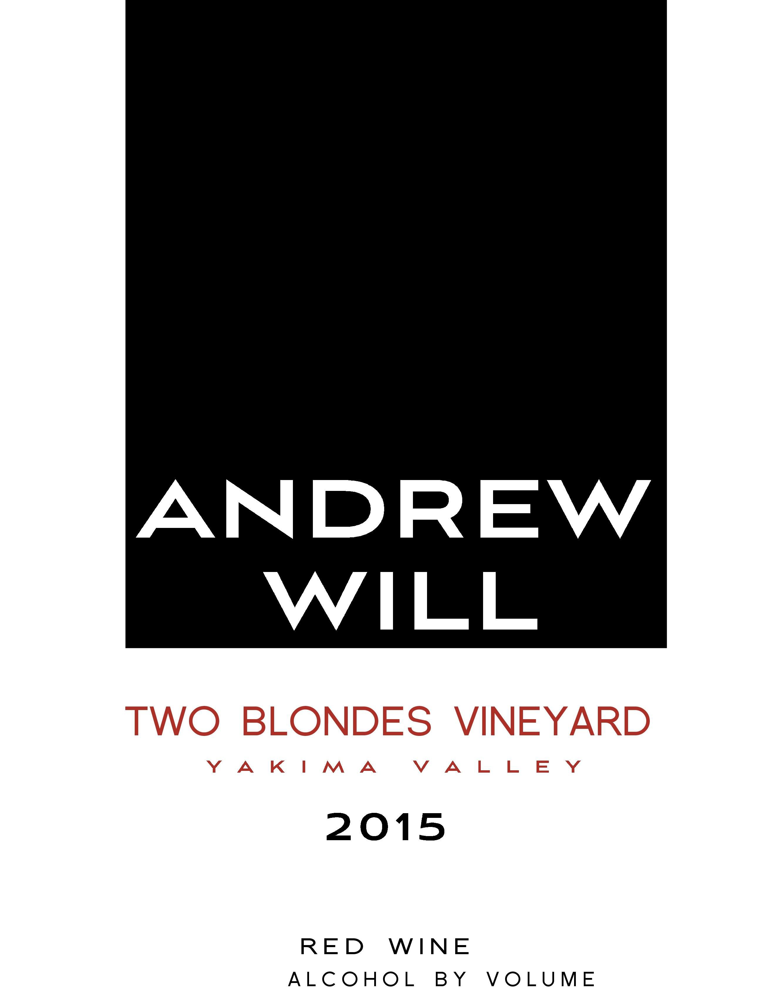 Andrew Will Winery Two Blondes Vineyard Red 2015  Front Label