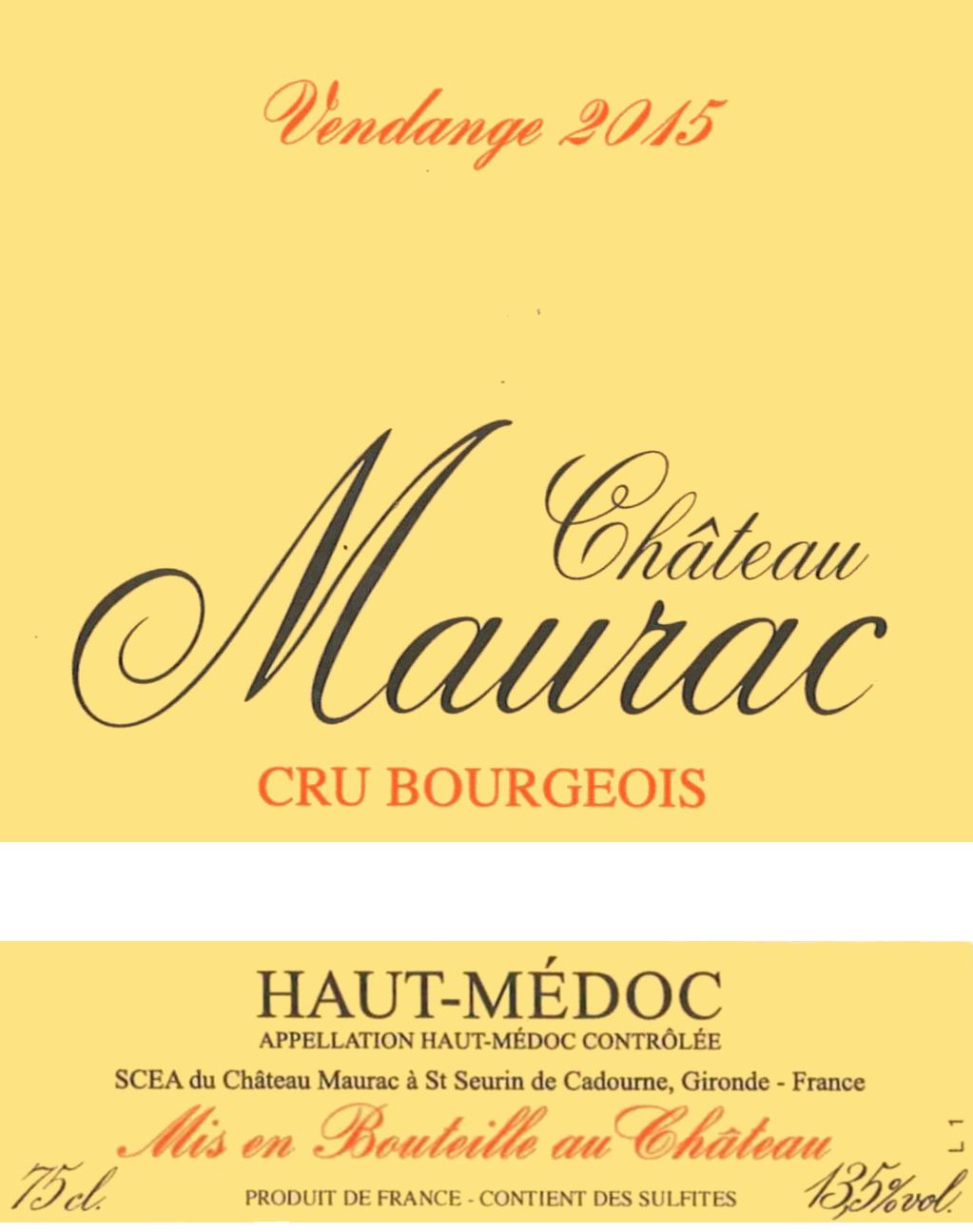 Chateau Maurac Cru Bourgeois 2015  Front Label