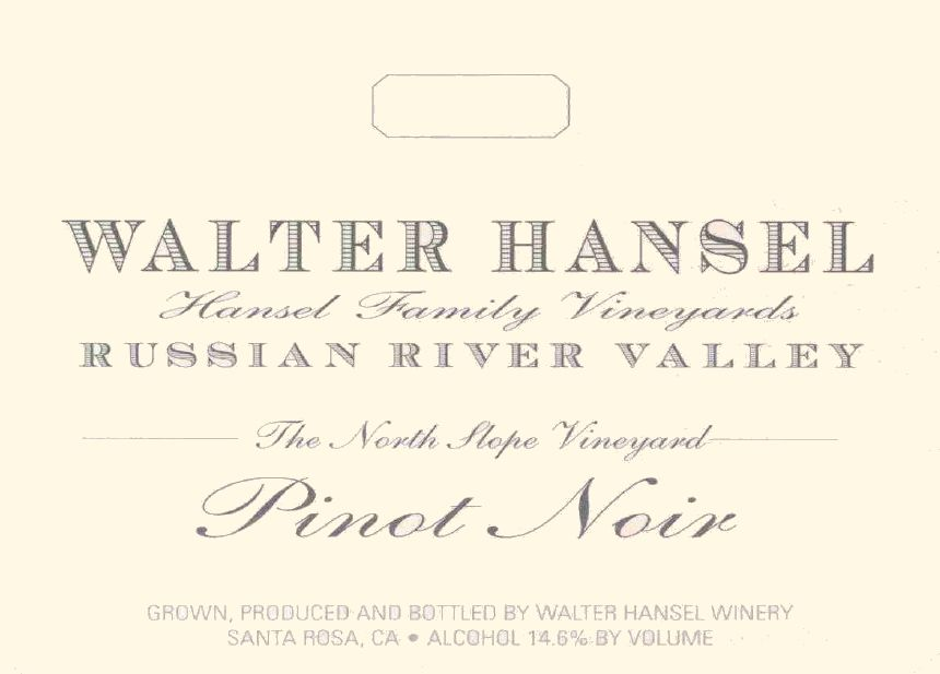 Walter Hansel North Slope Pinot Noir 2018  Front Label