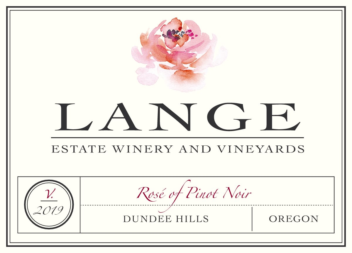 Lange Winery Rose of Pinot Noir 2019  Front Label