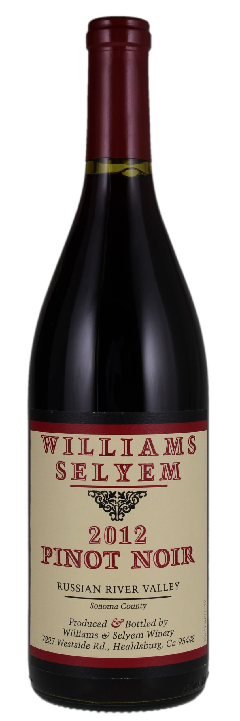 Williams Selyem Russian River Valley Pinot Noir 2012  Front Bottle Shot