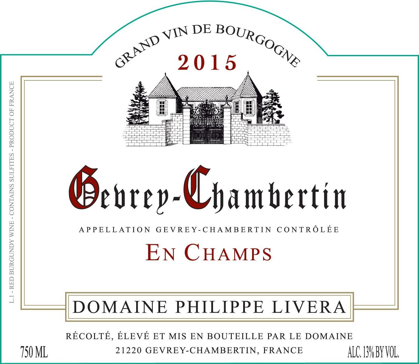 Philippe Livera Gevrey-Chambertin En Champs 2015 Front Label