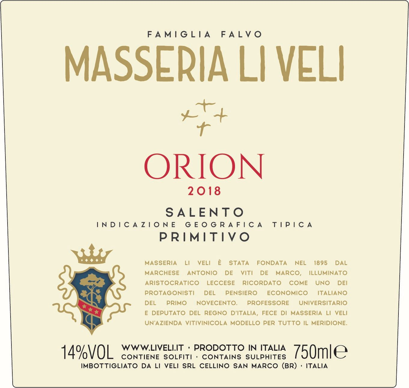 Li Veli Orion Primitivo 2018  Front Label
