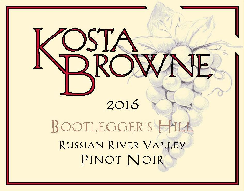 Kosta Browne Bootlegger's Hill Vineyard Pinot Noir 2016  Front Label
