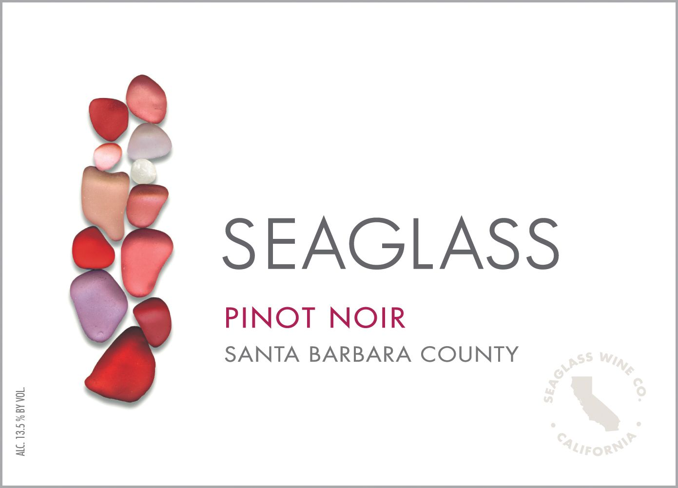 SeaGlass Pinot Noir 2018  Front Label