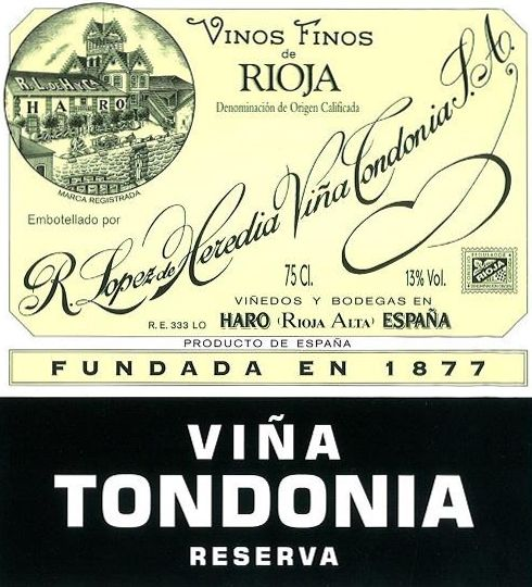 R. Lopez de Heredia Rioja Vina Tondonia Reserva (375ML half-bottle) 2008  Front Label