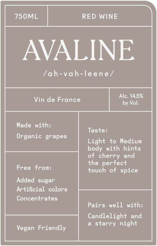 Avaline Red Blend  Front Label