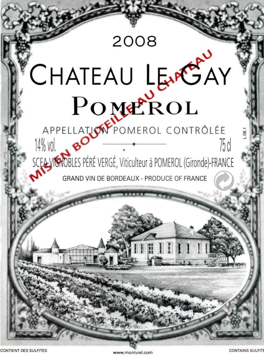 Chateau Le Gay  2008 Front Label