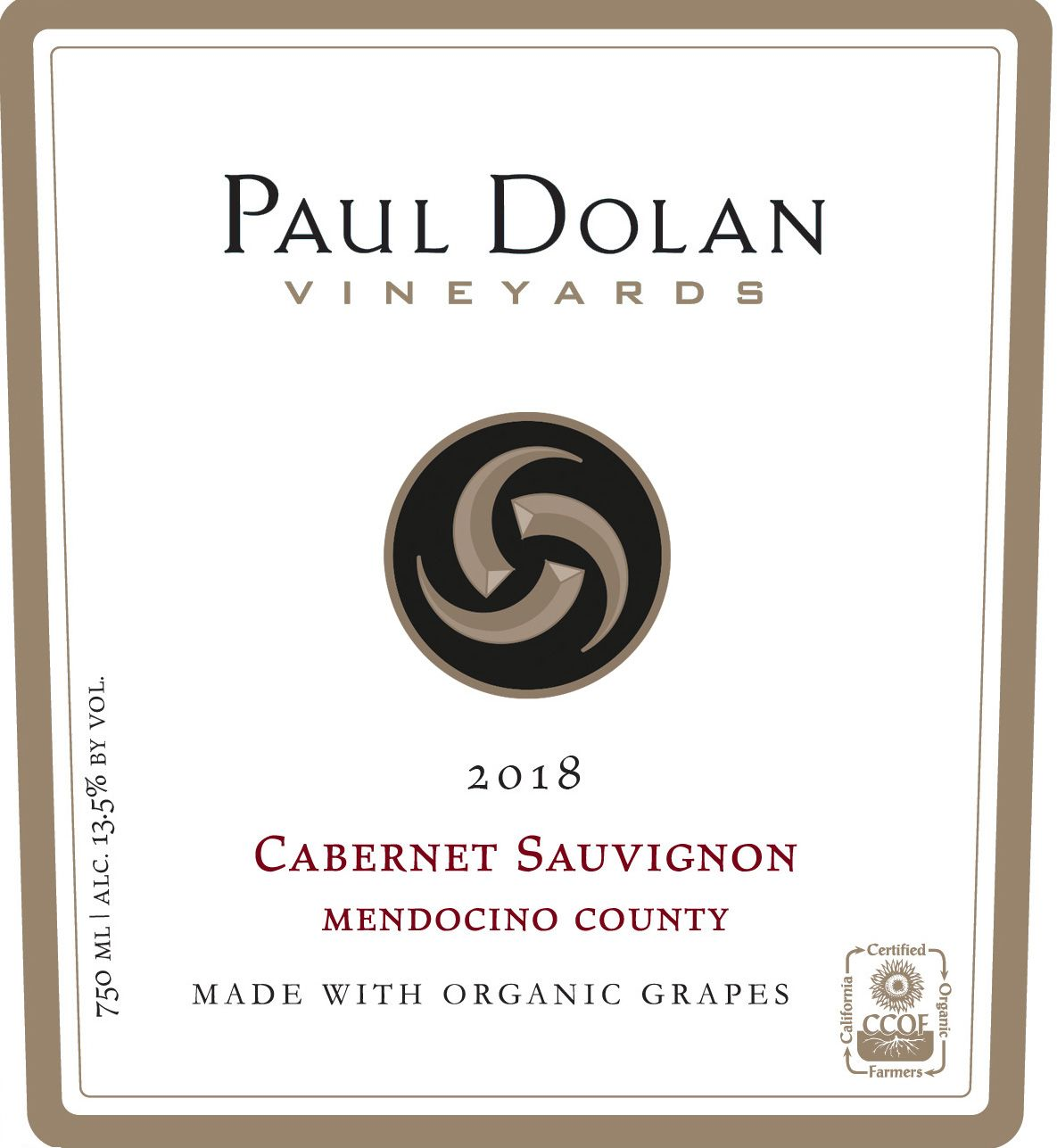 Paul Dolan Vineyards Organically Grown Cabernet Sauvignon 2018  Front Label