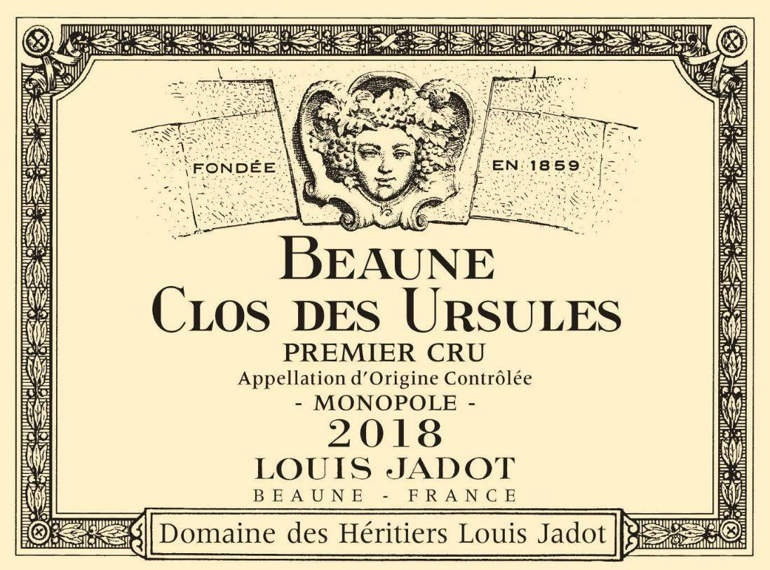 Louis Jadot Beaune Clos des Ursules Premier Cru (375ml half-bottle) 2018  Front Label