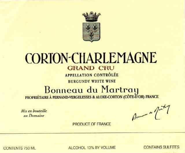 Bonneau du Martray Corton Charlemagne Grand Cru 2004 Front Label