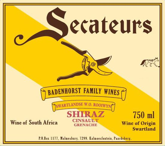 Badenhorst Secateurs Red Blend 2016  Front Label