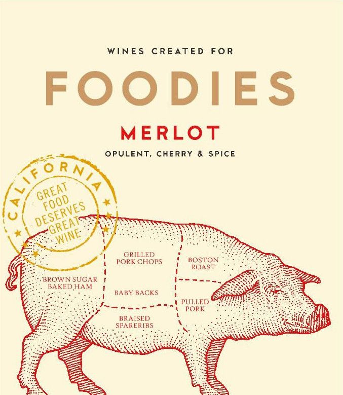 Foodies Wines Merlot  Front Label