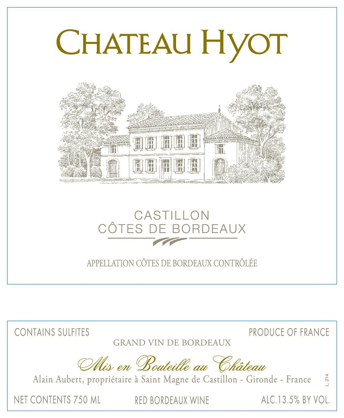 Chateau Hyot  2015 Front Label