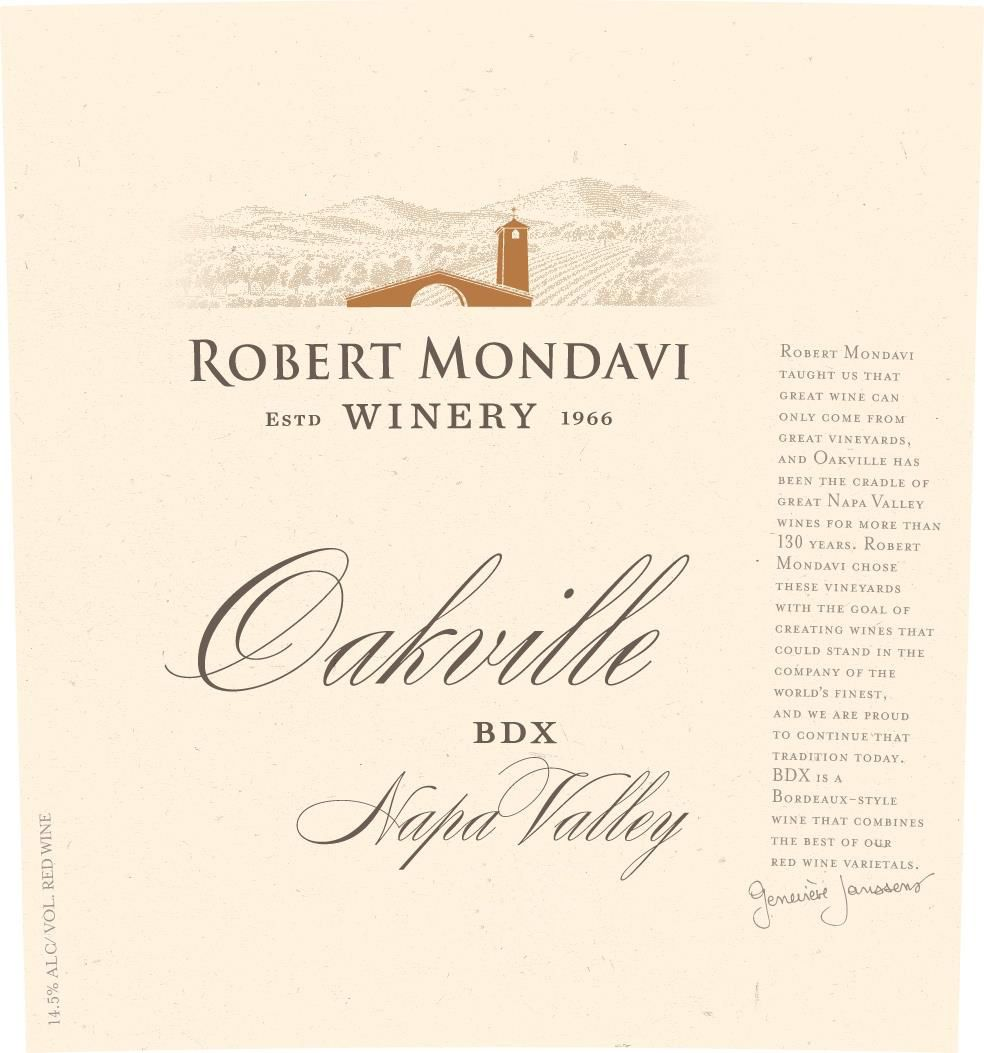 Robert Mondavi Oakville BDX Red Blend 2015  Front Label