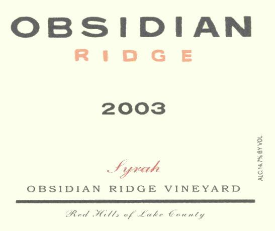 Tricycle Wine Company Obsidian Ridge Syrah 2003  Front Label