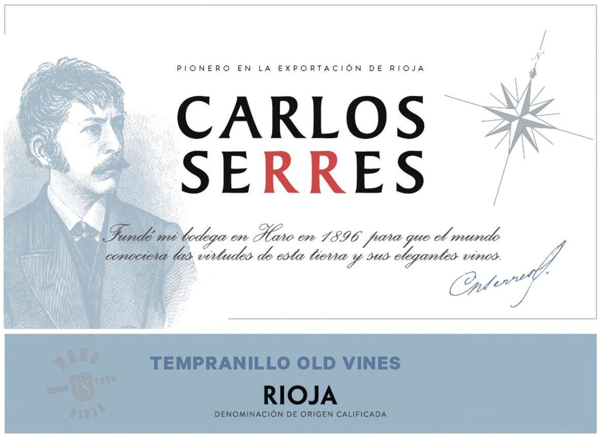 Carlos Serres Old Vines Tempranillo 2018  Front Label